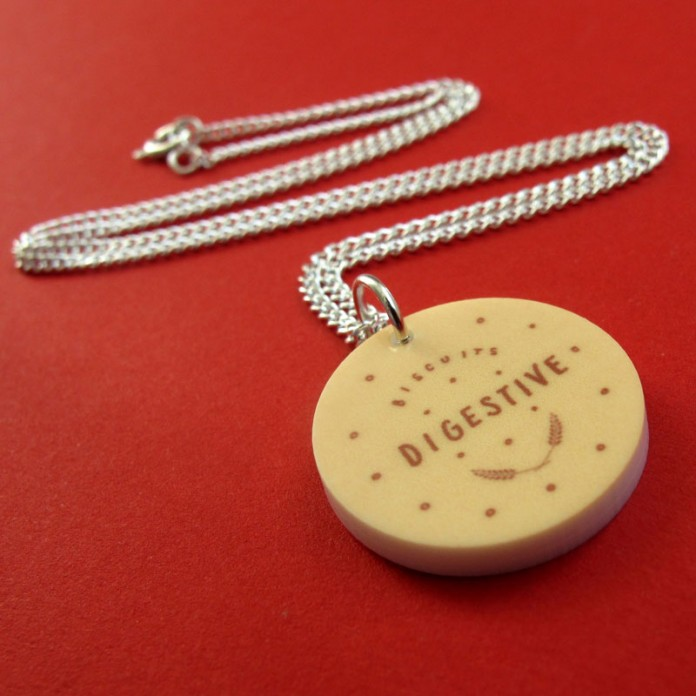 Digestive Biscuit Mini-Charm Necklace by Nikki McWIilliams