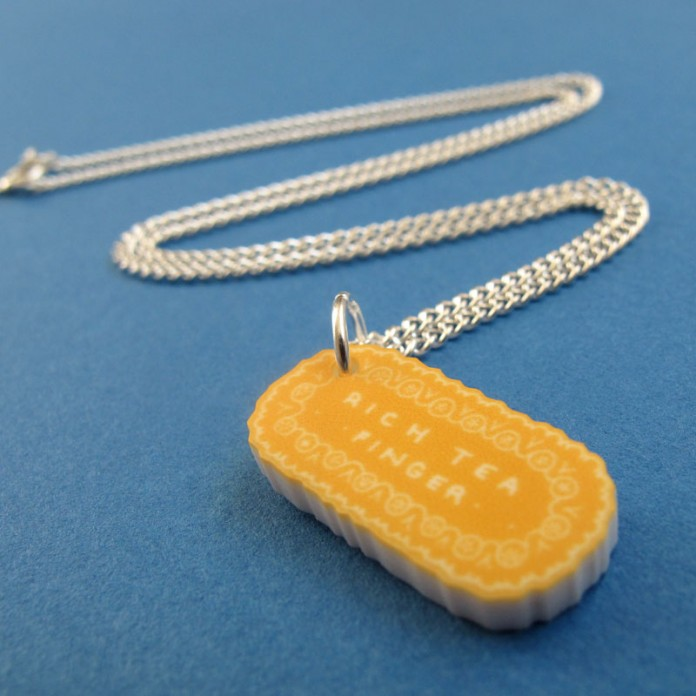 Rich Tea Finger Mini-Charm Necklace by Nikki McWIilliams