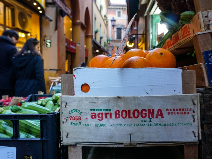 Shopping for fruit in Bologna, Italy