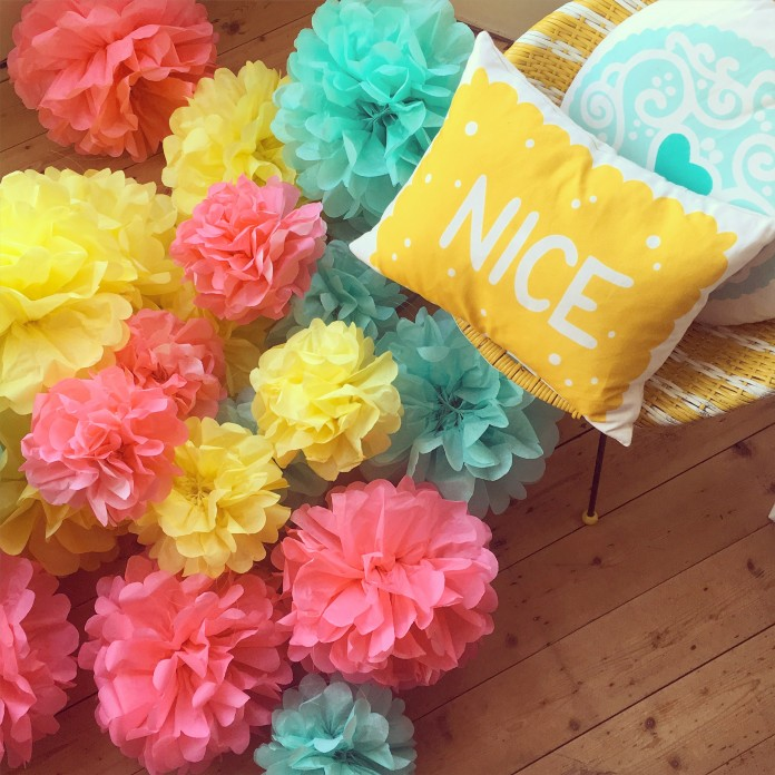Nikki McWilliams - Biscuit Wedding 2016 - Tissue Poms for days