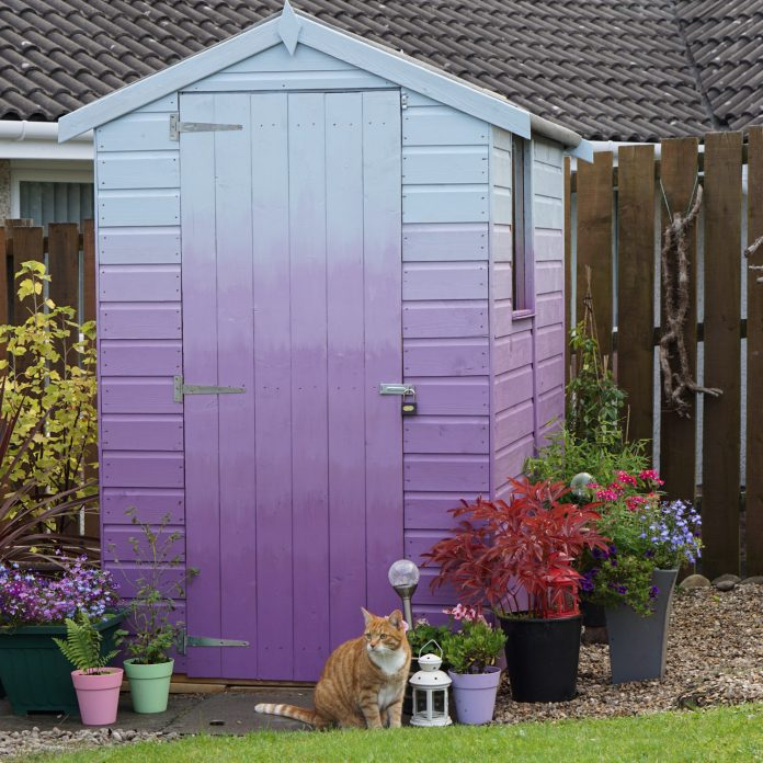 Purple Pansy to Coastal Mist Ombre Shed. Using Cuprinol Garden Shades