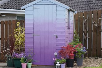 Purple Pansy to Coastal Mist Ombre Shed. Using Cuprinol Garden Shades