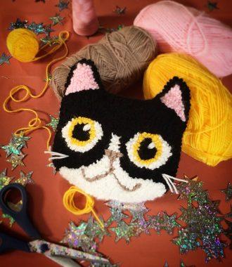 Nikki McWilliams Punch Needle Cat Cushion